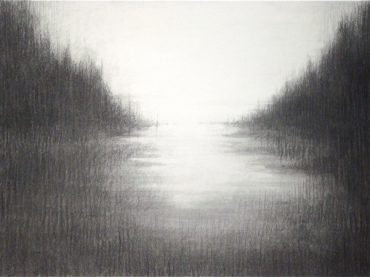 """Creek"", 47 x 67 cm, charcoal on paper, 2011"