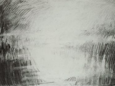 """Landschap"", 21 x 30 cm, charcoal on paper, 2012"