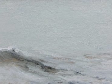 """Swelling sea"", acrylics on paper/panel, 16 x 32 cm, 2017"