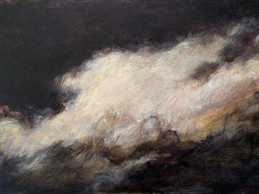 """""""Cloudscape"""", acrylic on paper/panel, 25 x 35 cm, 2021"""